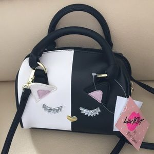 Luv Betsey Mini  Bag Black & White Silver Lashes